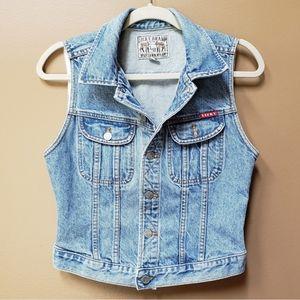 Lucky Brand Western Wear denim jacket vest